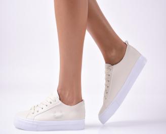Дамски  обувки равни  еко кожа бежови