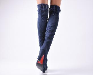 Дамски елегантни ботуши  сини 3