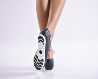 Дамски обувки равни естествена кожа тъмно сини