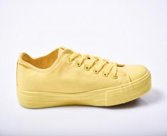 Юношески гуменки   текстил жълти 3