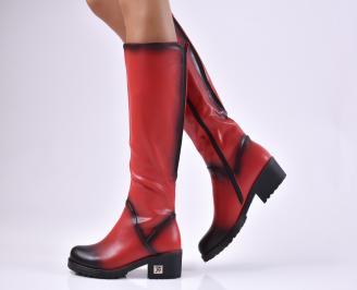 Дамски ежедневни ботуши червени от еко кожа