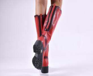 Дамски ежедневни ботуши червени от еко кожа 3