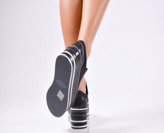 Дамски обувки на платформа еко кожа/текстил черни 3
