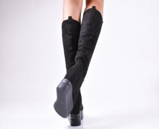 Дамски  ботуши на платформа  черни еко велур 3