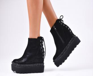 Дамски обувки на платформа еко кожа/брокат черни