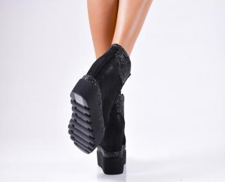 Дамски обувки на платформа еко кожа/брокат черни 3