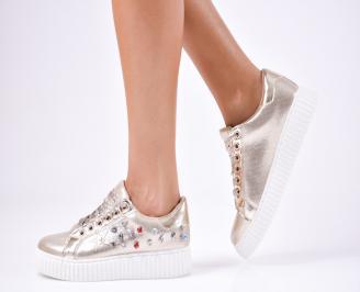 Дамски спортни  обувки текстил златисти