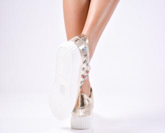 Дамски спортни  обувки текстил златисти 3