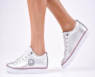 Дамски спортни  обувки еко кожа сребристи