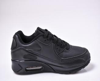 Юношески спортни обувки  еко кожа черни 3
