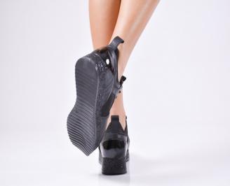 Дамски обувки от естествена кожа черни 3