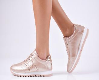 Дамски спортни  обувки еко кожа пудра