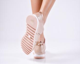 Дамски спортни  обувки еко кожа пудра 3
