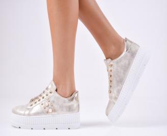 Дамски спортни  обувки еко кожа златисти