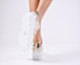 Дамски спортни  обувки еко кожа златисти 3
