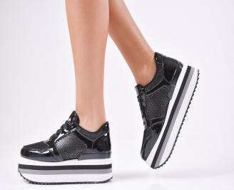Дамски спортни обувки  еко кожа/лак черни