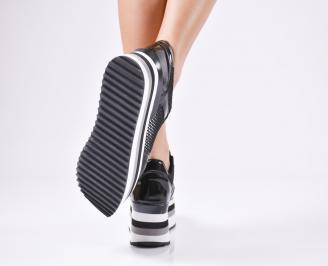 Дамски спортни обувки  еко кожа/лак черни 3