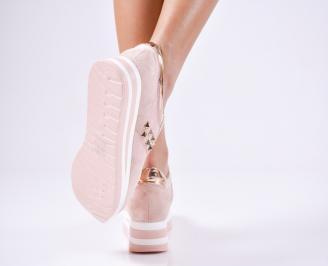 Дамски спортни  обувки еко кожа/велур розови