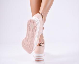Дамски спортни  обувки еко кожа розови