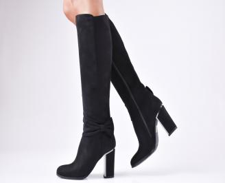Дамски елегантни ботуши черни  от еко велур
