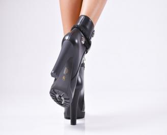 Дамски елегантни боти  черни  от еко кожа