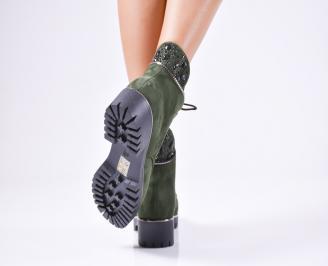 Дамски ежедневни  боти  от еко велур зелени