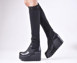 Дамски ботуши на платформа черни от еко кожа/стреч