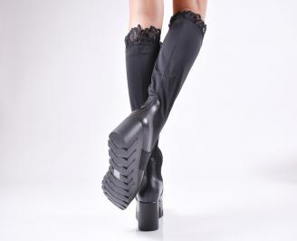 Дамски ботуши на платформа черни от еко кожа/стреч 3
