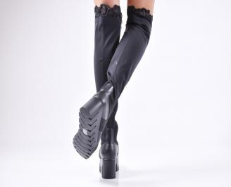 Дамски  ботуши на платформа черни 3