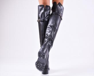 Дамски ежедневни ботуши черни от еко кожа