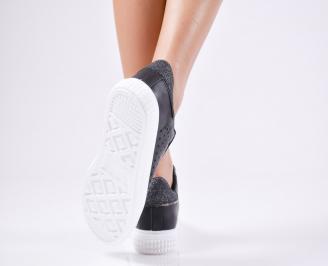 Дамски спортни  обувки еко кожа черни 3