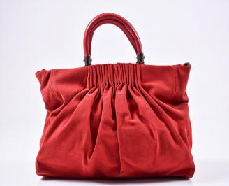 Дамска чанта еко велур червена