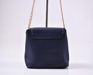 Дамска чанта еко кожа синя 3