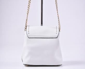 Дамска чанта еко кожа бяла 3