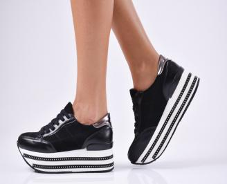 Дамски обувки на платформа еко кожа/еко набук черни
