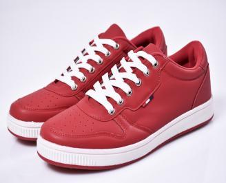 Мъжки спортни  обувки еко кожа червени