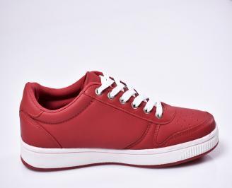 Мъжки спортни  обувки еко кожа червени 3
