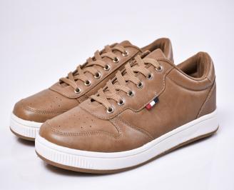 Мъжки спортни  обувки еко кожа кафяви