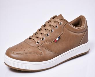 Мъжки спортни  обувки еко кожа кафяви 3