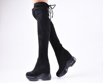 Дамски  ботуши на платформа  черни еко велур
