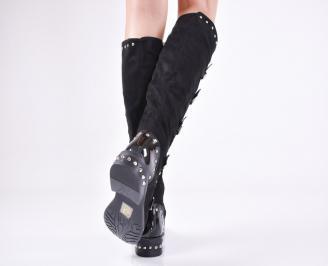 Дамски ежедневни ботуши черни от еко велур