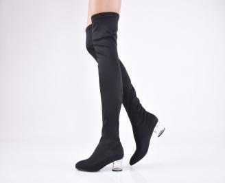 Дамски елегантни  ботуши черни  стреч