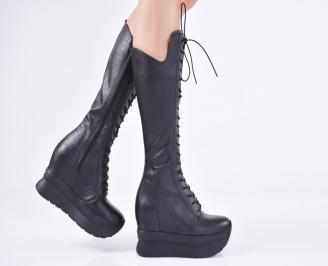 Дамски ботуши на платформа естествена кожа черни
