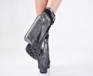 Дамски елегантни  боти  черни текстил/брокат