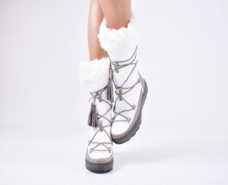 Дамски апрески еко кожа/текстил бели