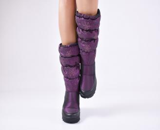 Дамски апрески еко кожа/текстил лилави