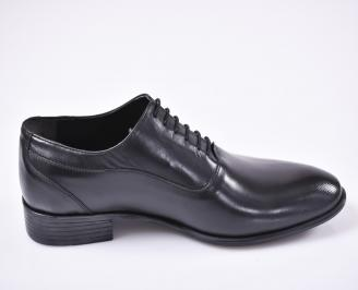 Мъжки официални обувки естествена кожа черни