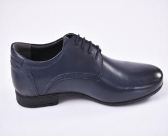Мъжки официални обувки естествена кожа сини