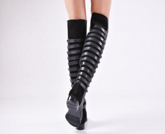 Дамски ботуши/чизми/ от естествена кожа черни