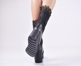 Дамски боти на платформа черни от еко кожа/стреч